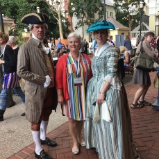 "I posed with Charles Carroll of Mount Clare and my ""relative"" Margaret Tilghman Carroll."